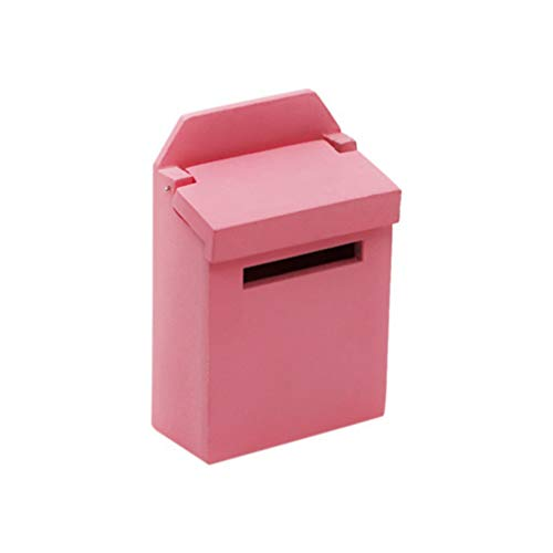 HEALLILY 1:12 Wooden Miniature Mailbox Mini Dollhouse Fairy Toys for Enchanted Garden Fairy Doll House Ornament Kids Play Gift Pink