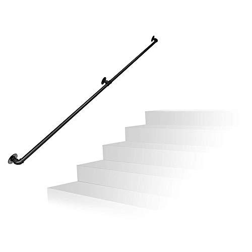 Bruikbare waterpijp leuning smeedijzer retro zwart trapleuning beugel zolder kamerdeurgreep, grootte: 80-600 cm optioneel (buisdiameter 3,2 cm)