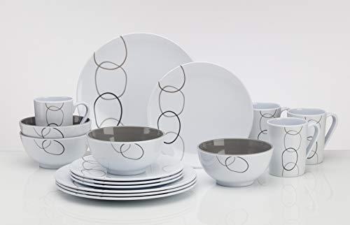 Flamefield Loops Design Tafelgeschirr aus Melamin Campinggeschirr Geschirr 16-teilig für 4 Personen Picknickgeschirr
