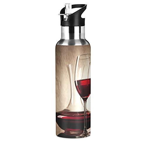 Botellas de vino Tazas de botella de agua deportiva con paja aislada al vacío, botella de agua térmica de acero inoxidable para adultos, mujeres, hombres, niños, niñas, escuela, correr, 600 ml