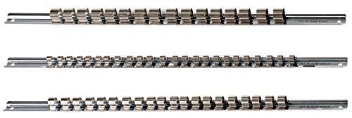 """Aufsteckschiene Satz/Klemmleiste/Steck-Nusshalter/Aufsteckleiste/Ordnungssystem mit 60 verschiebbare bzw. bewegliche Clips für 1/4"""" 3/8"""" 1/2"""" Vierkant Steckschlüssel Einsätze, 430 mm"""