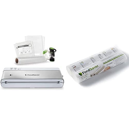 FoodSaver VS0100x Sistema de conservación, acero inoxidable + Rollos de Envasado al Vacío