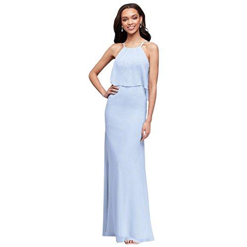 David's Bridal Flounced Crinkle Chiffon Sheath Bridesmaid Dress Style F19773, Ice Blue, 2