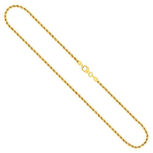 Goldkette, Kordelkette hohl Leichtversion Gelbgold 333/8 K, Länge 50 cm, Breite 2.1 mm, Gewicht ca. 2.5 g, NEU