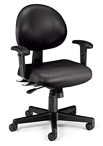 OFM 24 Hour Ergonomic Task Chair with Arms, Mid Back, in Black (241-VAM-AA-606)
