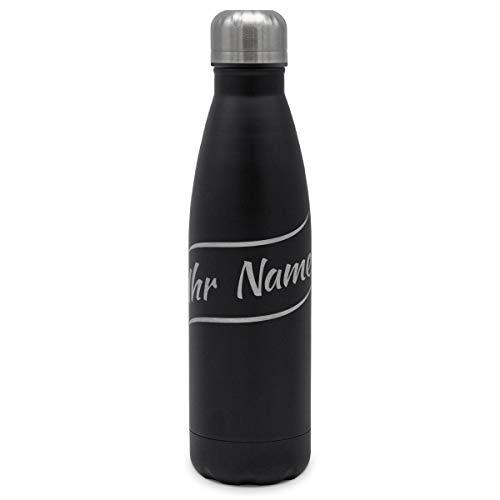 printplanet - Isolierte Trinkflasche mit Text oder Namen graviert - Edelstahl Thermo-Flasche mit Gravur, 500ml - Schwarz - Motiv: Welle
