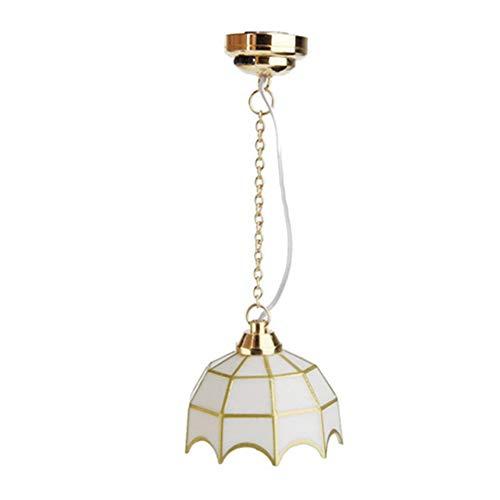 Egurs 1:12 Puppenhaus Miniatur Decke Lampe LED Licht Minipuppenzubehör, weiß 2#