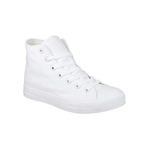 Elara Unisex Sneaker Sportschuhe High Top Turnschuh Textil 3600-3601 Allwhite-39