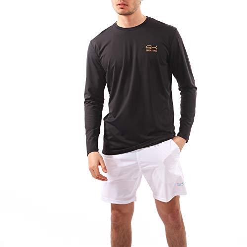 Sportkind Herren Tennis, Running, Fitness Tour Longsleeve Rundhals, schwarz, Gr. XXXL