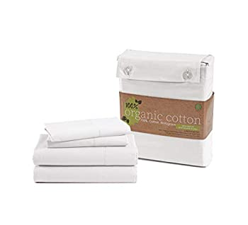 100% Organic Cotton Pure White Twin-Sheets Set 3-Piece Pure Organic Cotton Long Staple Percale Weave Ultra Soft Best Bedding Sheets for Bed Breathable GOTS Certified Fits Mattress Upto 15  Deep