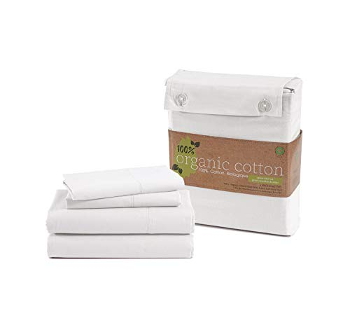 """100% Organic Cotton Pure White King-Sheets Set, 4-Piece Pure Organic Cotton Long Staple Percale Weave Ultra Soft Best Bedding Sheets for Bed, Breathable, GOTS Certified, Fits Mattress Upto 15"""" Deep"""
