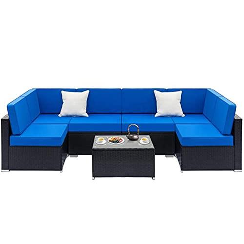 LLKK - Set di mobili da giardino per tutte le condizioni atmosferiche, divano componibile in vimini per esterni, con cuscino e tavolo in vetro, 7 pezzi