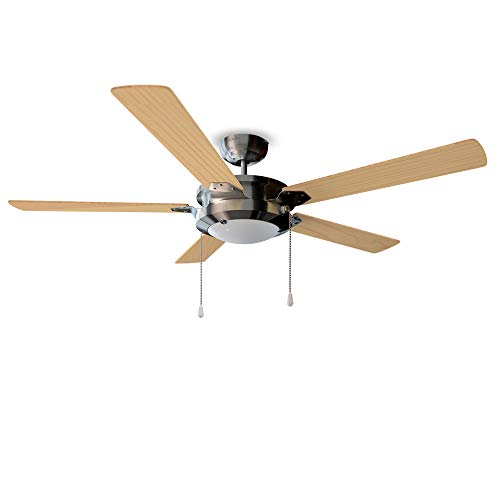 Cecotec Ventilador de Techo EnergySilence Aero 540. 60 W, 132 cm de Diámetro, Luz LED, 5 Aspas Reversibles, 3 Velocidades, Función Invierno, Acabado en 2 tonos de madera