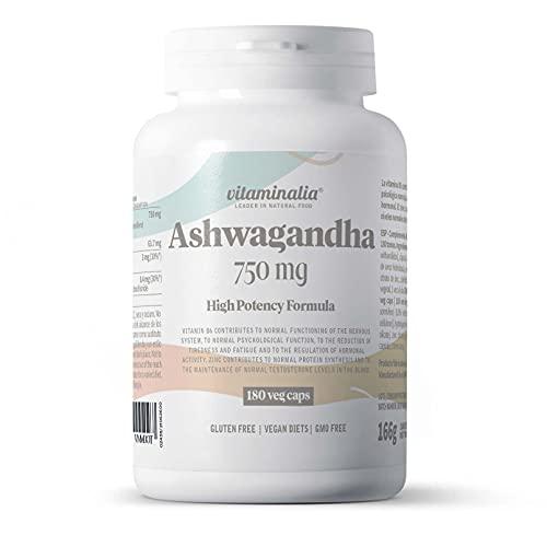 Extracto de Ashwagandha de Vitaminalia | 750 mg | 100% Raíz | 10 Veces Más Concentrado | 8,5% de Withanólidos | Vitamina B6 + Zinc | No-GMO, Vegano, Sin Gluten, Sin Lactosa | 180 Cápsulas Vegetales