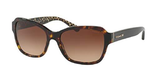 Coach HC8232 550713 56M Dark Tortoise/Brown Gradient Rectangle Sunglasses For Women+FREE Complimentary Eyewear Care Kit