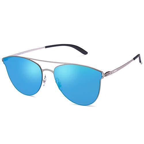 AVAWAY Occhiali da Sole Donna Montatura in Metallo a Specchio Lenti Protezione UV 400 Occhi di Farfalla