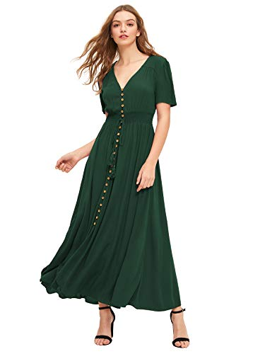 Milumia Women's Button Up Split Floral Print Flowy Party Maxi Dress Green-5 L