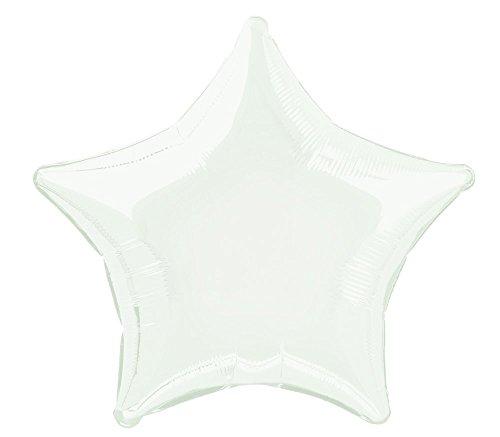 Unique Party- Globo foil helio estrella, Color blanco, 50 cm (53311) , color/modelo surtido