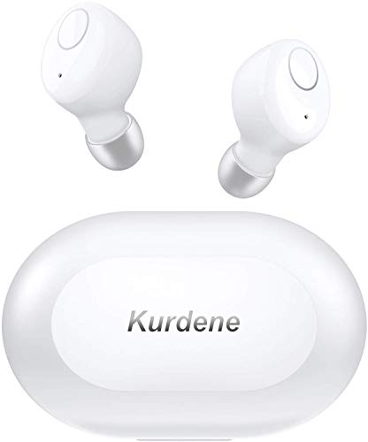 Bluetooth Earbuds,Kurdene Wireless Earbuds with Charging Case IPX8 Waterproof Bluetooth Headphones Bass Sound Earphones with Mics Touch Control in-Ear Headset for Sports,Home-White