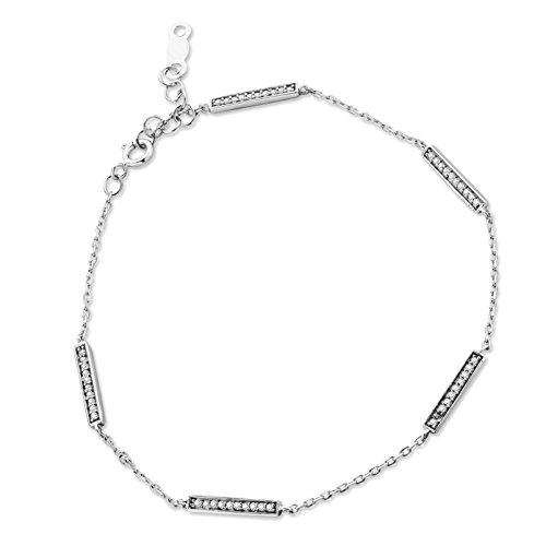 Orovi Pulsera para mujer de oro blanco 375 con diamantes de talla brillante de 0,12 ct 17,5 cm