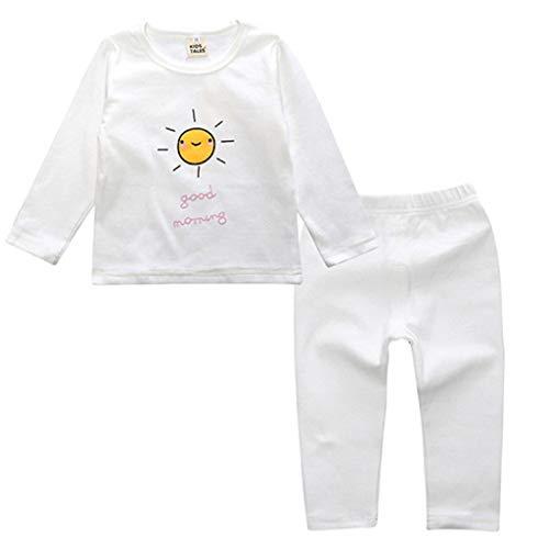 Ensemble de Pyjama en Coton Little Kids Boys pour Filles Vêtements de Nuit géométriques à Manches Longues Ensemble de vêtements de Nuit 2 pièces(E,12-18 Mois)