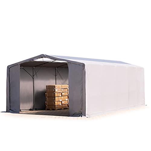 TOOLPORT Zelthalle Lagerzelt mit OBERLICHT 8x10x4 m Garage Industriezelt Plane ca. 550 g/m² PVC wasserdicht grau