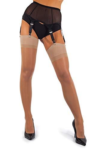 sofsy Sheer Oberschenkel Strapsstrümpfe Strumpfhose für Strumpfgürtel und Hosenträger Gürtel Plain 15 Den [Hergestellt in Italy] (Strumpfgürtel separat erhältlich!) Natural 4 - Large