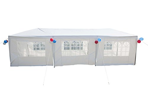 GOJOOASIS Improved Version Canopy Tent Wedding Party Tent with Metal Connectors Outdoor Gazebo White 10' x 30' with 8 Walls