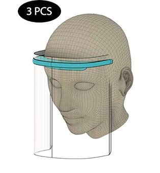 Pantalla Facial Protectora, 3 Viseras Protectoras Transparentes Ajustables de rostro Completo con Protección para ojos y cabeza, Cubierta Facial Antisalpicaduras para mujeres/hombres. Ver-4.12