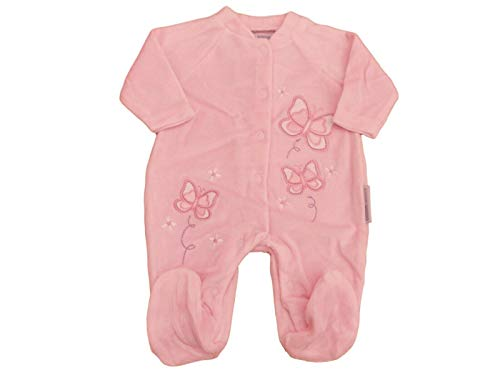 Pijama de Terciopelo Rosa con Etiquetas, diseño de Mariposas, Todo en una Ropa