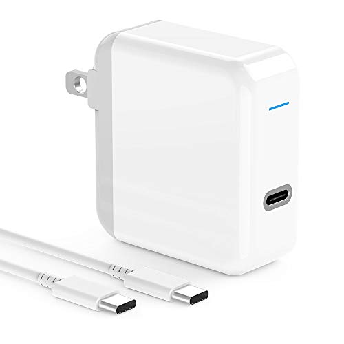 USB C Charger for 2020/2018 iPad Pro 12.9 Gen 4/3, iPad Pro 11, MacBook Pro, 2018 MacBook Air, MacBook 12 inch 2019/2018/2017/2016, 45W Thunderbolt 3 USB C Power Adapter, 6.6ft USB C to C Cable, LED