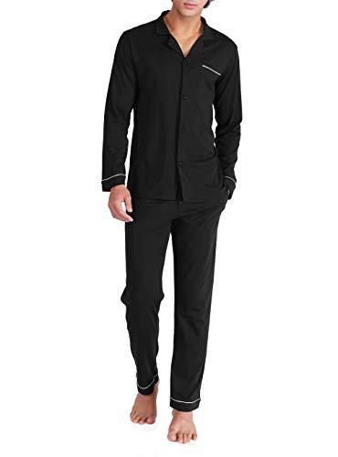 DAVID ARCHY Men's 100% Cotton Long Button-Down Sleepwear Pajama Set (L, Black)