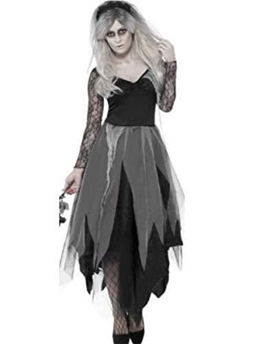 YONIER Adulta Mujer Disfraz de Novia De Cementerio Vestido con Rosas Negro Disfraz de Zombie Traje de Halloween Carnaval Vestido de Fiesta Talla M-XL