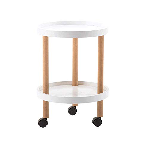 Round Coffee Table With Storage Side Table White End Table Side Table Coffee Table Round for Living Rooms, Lounges, Study, Etc, with Castors 45Cm X 62Cm,Home/office