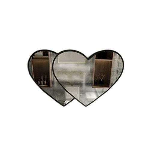 Decoración del hogar Espejos Espejo De Baño En Forma De Corazón, Hotel Restaurante Baño Maquillaje Espejo De Metal Marco De Pared Espejo Decorativo 70 * 45 Cm Espejos de baño(Size:70*45CM,Color:Negro)