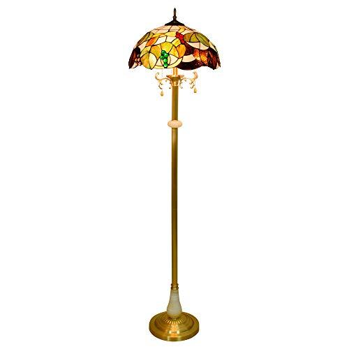 Lámpara de pie 16- 'Tiffany europeo estilo marrón uvas de vidrio lámpara de pie cobre puro lámpara de lectura vertical para estudio sala de estar dormitorio habitación decoración Luces bellamente dise