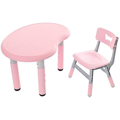 XIALIUXIA Height Adjustable Kids Table And Chair Set, Kids Studying Table Furniture for Toddlers Students Reading Learning Activity Furniture Desk Sets,Pink