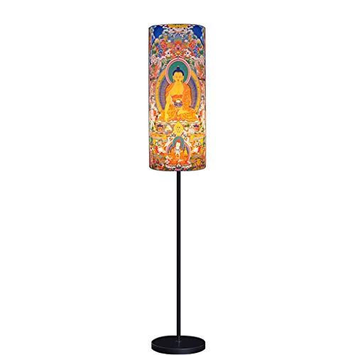 Standleuchten Kreative gemalte Buddha-Statue Stehleuchte Schlafzimmer Nachttischlampe Wohnzimmer Studie Retro Licht LED Vertikale Lampe, E27 (Farbe : Silber)