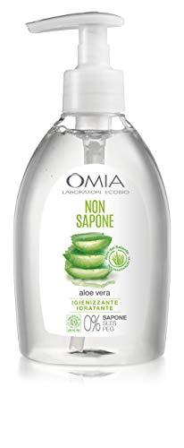 Omia Non Sapone Eco Bio con Aloe Vera del Salento, Sapone Liquido per le Mani e per il Viso, Azione Idratante, Addolcente e Rinfrescante, Dermatologicamente Testato, Flacone da 300 ml