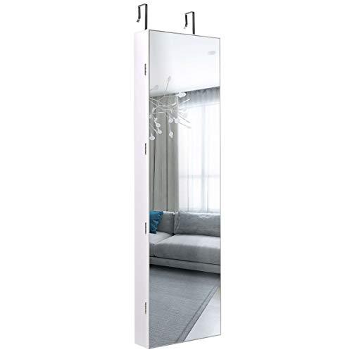 DREAMADE Schmuckschrank Spiegelschrank mit LED-Beleuchtung, LED Spiegelschrank Wandmontierend, Standregal mit Spiegel (Weiß)