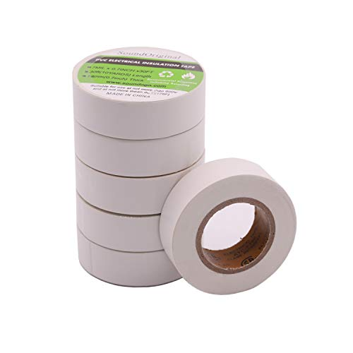 Soundoriginal Electrical Tape White 6 Pack 3/4-Inch by 30 Feet, Voltage Level 600V Dustproof, Adhesive for General Home Vehicle Auto Car Power Circuit Wiring White (30Ft White)