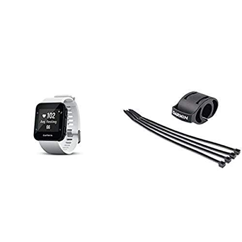 Garmin Forerunner 35 Watch and HRM-Tri Heart Rate Monitor, White and Bicycle Mount Kit