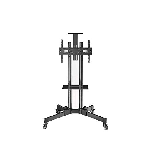 YLB TV Montes de pared altura Ajustable TV Mobile Stand con estante ajustable para televisores de 42 pulgadas-90 pulgadas |Soporta hasta 485lbstotal |Corchete de pared de TV de gestión de cable integr