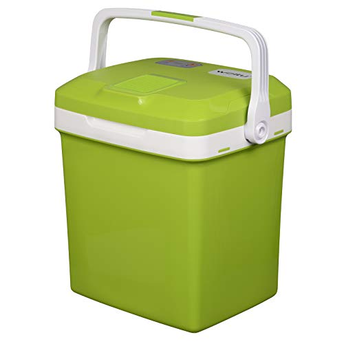 WOLTU KUE002gn Kühlbox, Tragbarer Mini Kühlschrank, 26 Liter Isolierbox zum Warmhalten, Kühlen für Auto, Wohnmobil, Van, Fahrzeug, Boot für Camping, Reisen, Angeln - DC 12V & AC 220V Grün