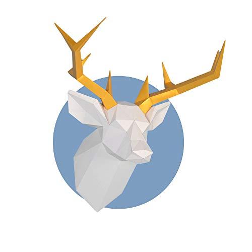 Escultura de papel con cabeza de ciervo,Kit de papelería pre-cortado,Figura de animal ancha hecha a mano,Multi Color,Decoración de pared en bajo poliéster,Todos los accesorios incluidos