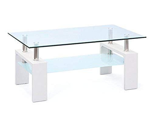 13Casa Carbondale Tavolino, Finta_Pelle, Bianco, 100X60X45 Cm