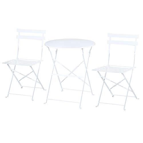 Outsunny Set 3 Pezzi Tavolino con Sedie da Giardino Pieghevoli, Mobili da Esterno in Metallo, Bianco