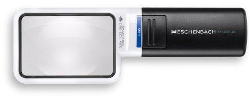 Eschenbach 15114 - Taschenleuchtlupe mobilux LED, Asphärische PXM®-Leichtlinse, Abmessungen Linse: 75 x 50 mm, Vergrößerung: 4x, Dioptrie: 16