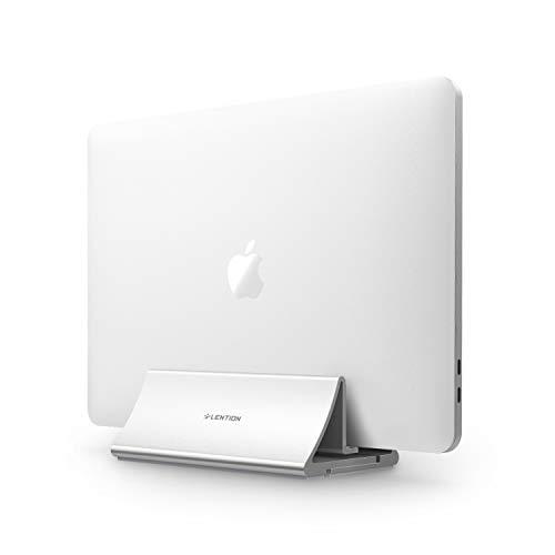 lention Aluminium Platzsparender vertikaler Desktop-Ständer Kompatibel mit MacBook Air/Pro 13 15, MacBook 12, iPad Pro 12.9, Surface Book, Chromebook und 11 bis 17-Zoll-Laptops, Notebooks (Silber)