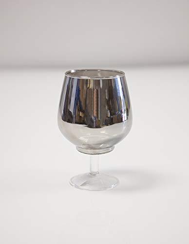 Decor Trader Photophore gris acier pour bougie chauffe-plat 2 tailles pour mariage ou Noël (14 cm)